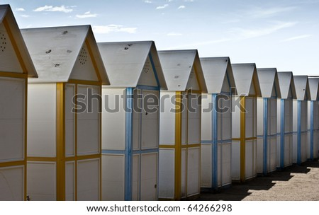 Changing rooms at the beach - stock photo