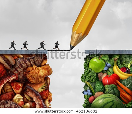 Shutterstock Changing to vegan and transition to vegetarian lifestyle as people running across a pencil drawing bridge from meat and greasy junk food to fruit and vegetables with 3D illustration elements.