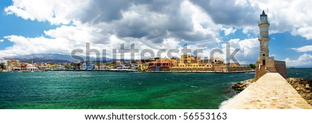 Chania Crete (Greece) - panoramic image with light house