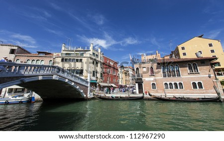 channel and bridge in Venice,Italy