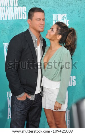 Channing Tatum & wife Jenna Dewan-Tatum at the 2012 MTV Movie Awards at Universal Studios, Hollywood. June 4, 2012  Los Angeles, CA Picture: Paul Smith / Featureflash - stock photo