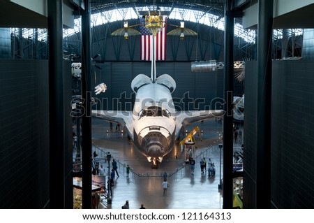 CHANTILLY, VA - JUNE 8, 2012: The space shuttle Discovery on display at its permanent home at the Smithsonian Air and Space Museum Steven F. Udvar-Hazy Center in Chantilly, VA. June 8 2012 - stock photo