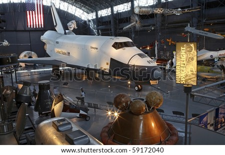 CHANTILLY, VIRGINIA - AUGUST 15: Space Shuttle at the National Air and Space Museum's Steven F. Udvar-Hazy Center.   Taken August 15, 2007 in Chantilly, Virginia.