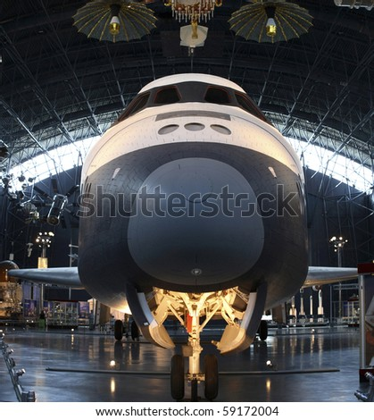 CHANTILLY, VIRGINIA - AUGUST 15: Space Shuttle Enterprise at the National Air and Space Museum's Steven F. Udvar-Hazy Center.   Taken August 15, 2007 in Chantilly, Virginia.