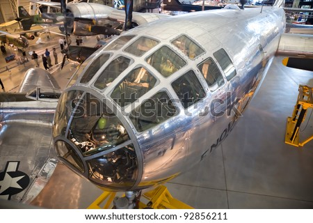 "CHANTILLY, VIRGINIA - OCTOBER 10: Boeing B-29 Superfortress Enola Gay. On 6 August 1945 the bomb, code-named ""Little Boy"", was targeted at the city of Hiroshima. October 10, 2011, Chantilly, Virginia."