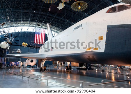 CHANTILLY, VIRGINIA - OCTOBER 10: Enterprise at the National Air and Space Museum on October 10, 2011. It was the first Space Shuttle orbiter. On September 17, 1976 the first prototype was completed.