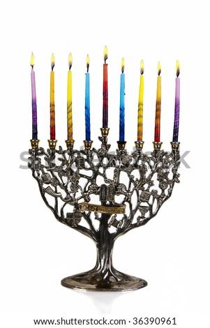 Chanukah Menorah. Eighth day of Chanukah. XXL