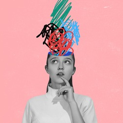Chaos in girl's head and hurricane of thoughts. Modern design, contemporary art collage. Inspiration, idea concept, trendy urban magazine style. Back to school. Line art