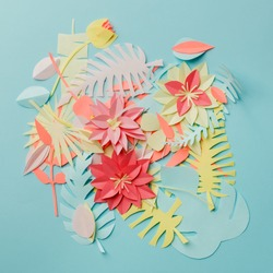 Chaos mess papercraft flowers and decor background,