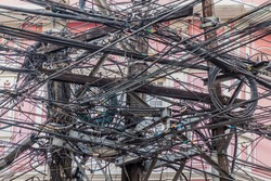 Chaos of cables in Manila, Philippines