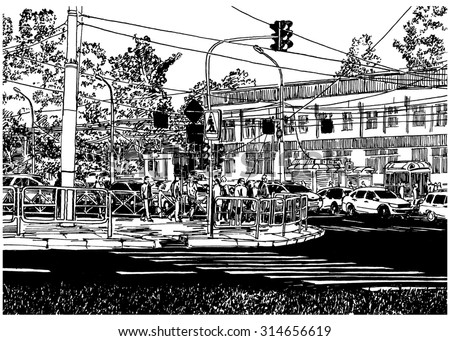 Chaos traffic urban scene. Black and white dashed style sketch, line art, drawing with pen and ink. Western classical trend of book illustration and comic art.