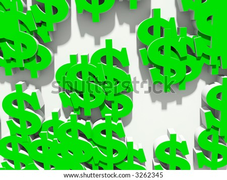 Chaotic arrangement of dollar on a white background
