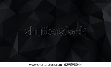 Stock Photo Chaotic black low poly surface. Computer generated abstract background. 3D render illustration