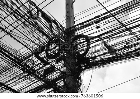 Telegraph pole with power box Images and Stock Photos