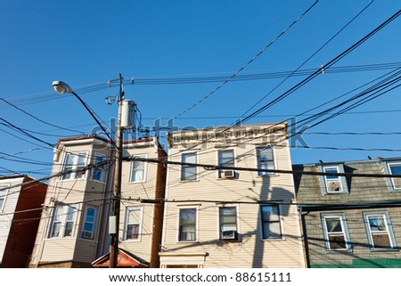 Chaotic electric wiring in an American suburb.