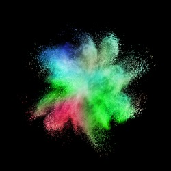 Chaotic multicolored powder explosion on a black background.