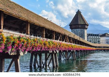 Chapel Bridge at Switzerland #600866396