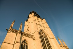 Chapel Church in Brussels Belgium during an amazing summer sunset with colourful sky