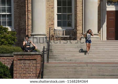 Chapel Hill, NC/United States- 08/26/2018: The campus of UNC Chapel Hill is very quiet on a humid summer morning. #1168284364