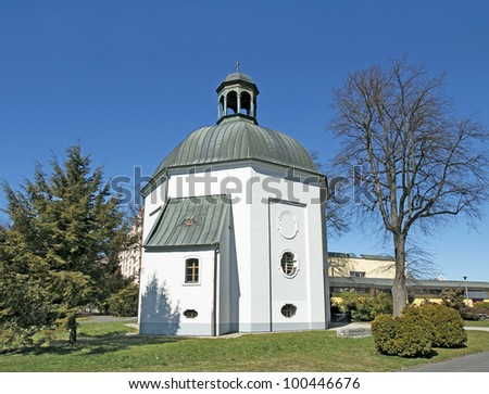 Chapel of Archangel Michael situated next to the graveyard, it is a free standing plastered octolateral central building having a tetragonal vestry with an elevated oratory. Bruntal, Czech Republic