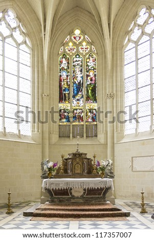 Chapel of castle. Chateau d'Usse located in commune of Rigny-Usse in Indre-et-Loire department, France. Stronghold at edge of Chinon forest overlooking Indre Valley was first fortified in XI century.