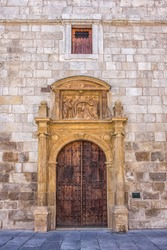 Chapel of San Ildefonso door. It was the church of the Colegio Mayor San Ildefonso of the University of Alcalá and was completed in 1510.