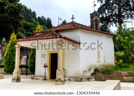 Chapel of St John the Evengelist, built in the 18th century and located along the famous water fountain in the center of the town of Luso, Portugal Stock fotó ©