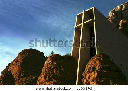Chapel of the Holy Cross in Sedona, Arizona. Designed in 1956 by Marguerite Brunswig Staude, a pupil of Frank Lloyd Wright.