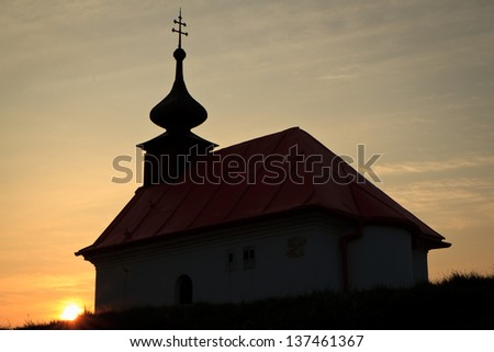 Chapel on Santon hill at sunrise. This small round hill was Napoleon\'s strategic point during The Battle of Battle of the Three Emperors in 1805.