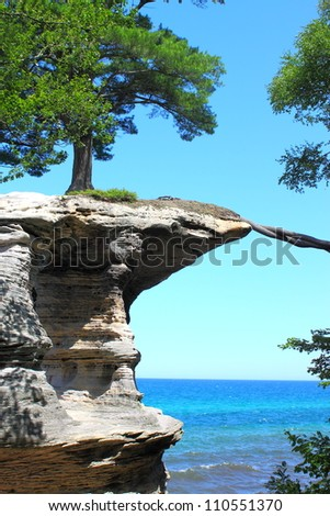 Chapel Rock at pictured rocks national lake shore in Michigan