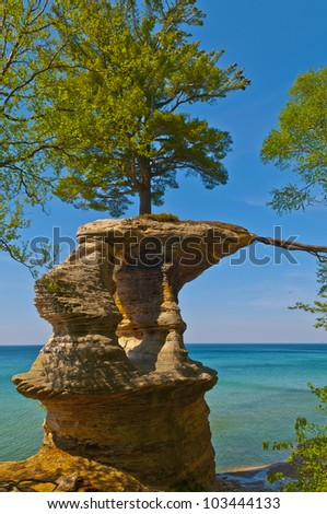Chapel Rock on the trail to Mosquito Beach in Pictured Rock National Lakeshore