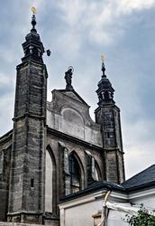 Chapel Sedlec ossuary Kostnice Church a place Human skulls Kutna Hora, Czech Republic.