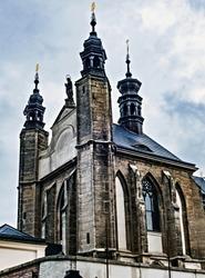Chapel Sedlec ossuary Kostnice Church a place Kutna Hora, Czech Republic. Human bones and skulls. A tourist destination, popular tourist attraction. Human skulls