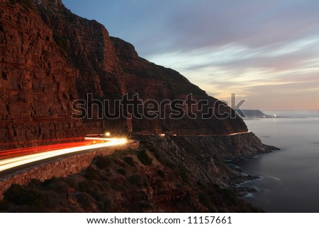 Chapman's peak a scenic road on the cape peninsula Cape Town South Africa. Photo taken half an hour after sunset.