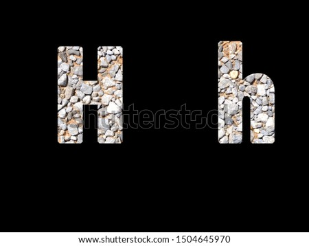 Character alphabet, text, front H-h stone pattern inside letter on black background #1504645970