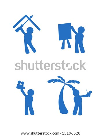 Character blue icons, represent workshop, presentations, retreats and web cast.