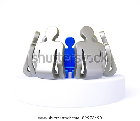 character discussion isolated on a white background - stock photo