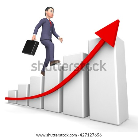 Character Graph Meaning Success Successful And Profit 3d Rendering