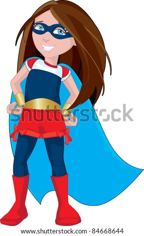 Character illustration of a strong  young female superhero Strong Woman Cartoon Characters