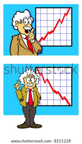character in business suit in front of chart or graph showing increase and decrease