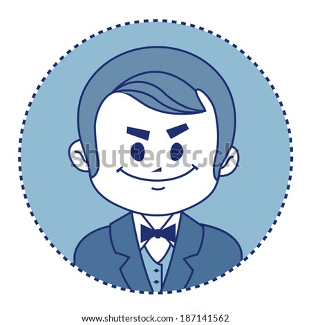 Character rich banker in suit with bow tie.