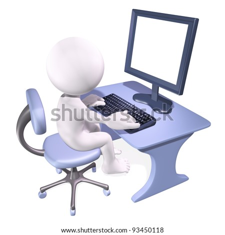 character sitting at a desk