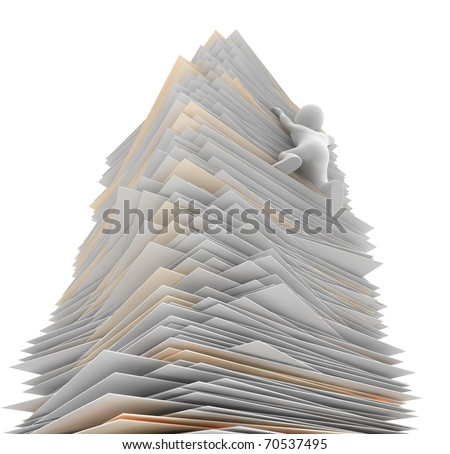 Character struggling to climb a mountain of paper