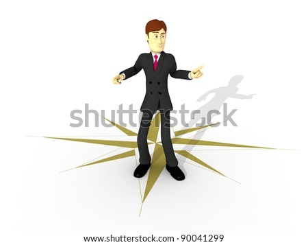 character with suit and lost