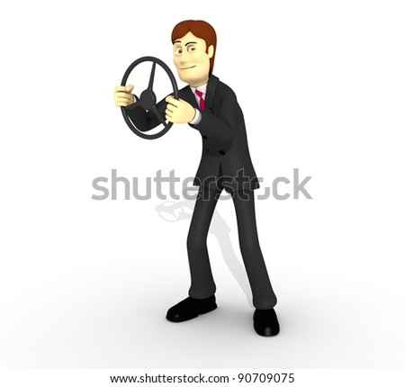 character with suit and wheel