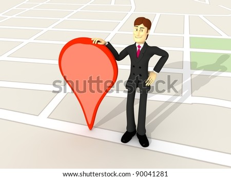 character with suit on a map