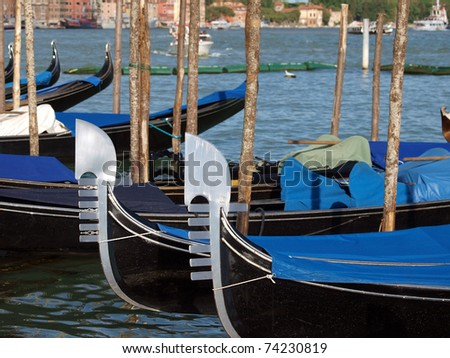 Characteristically decorated the front a Venetian gondola
