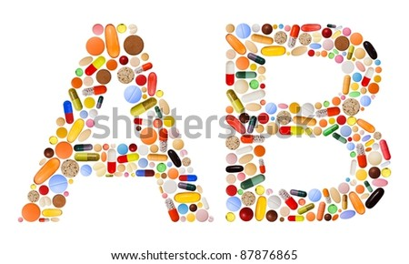 Characters A and B made of various colorful pills, capsules and tablets