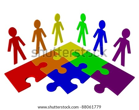 Characters and puzzle - business team, teamwork