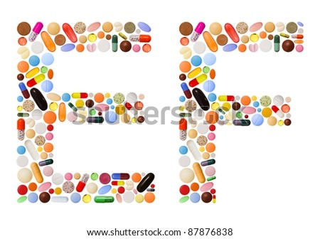 Characters E and F made of various colorful pills, capsules and tablets